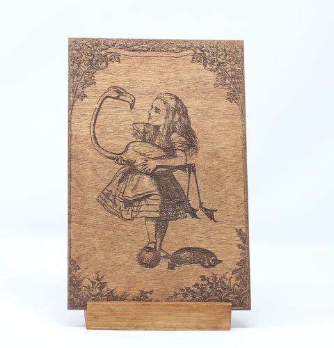 Alice in Wonderland Alice Wood Card with Stand