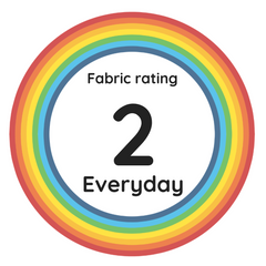 "Rainbow circle with the text ""Fabric rating 2, Everyday"" in the centre."