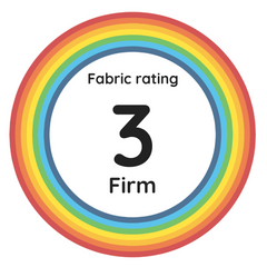 "Rainbow circle with the text ""Fabric raiting 3, Firm"" in the centre."