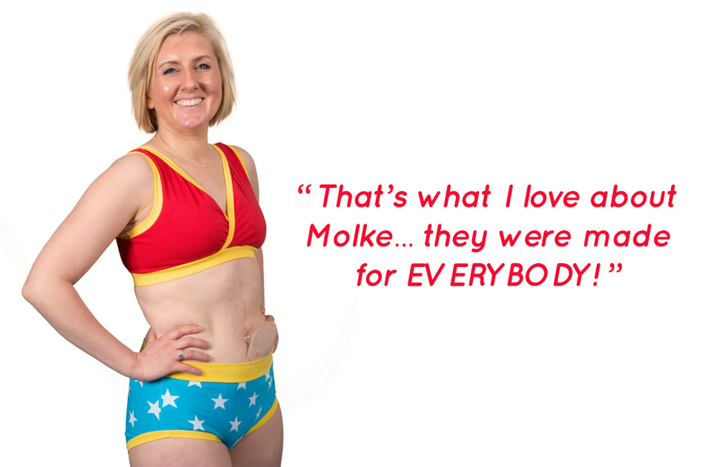 "Fiona modelling the Power set. A quote to her right reads ""That's why i love Molke, they were made for everybody."""