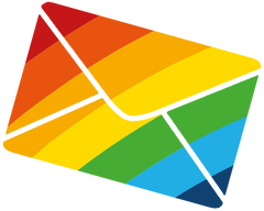 An illustration of an envelope coloured in like a rainbow.