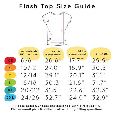 Flash Top Size Guide - XS - UK 6/8, S - UK 10/12, M - UK 12/14, L - UK 16/18, XL - UK 20/22, 2XL - UK 24/26.  If you have any questions over sizing, please contact us at pixie@molke.co.uk