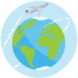 An illustration of an aeroplane flying round the earth with a white vapour trail circling the earth.