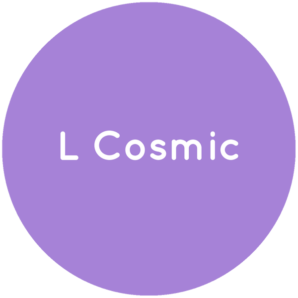 Purple circle with the text L Cosmic in white.