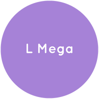 Purple circle with the text L Mega in white.
