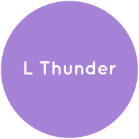 Purple circle with the text L Thunder in white.