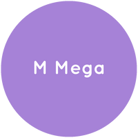 Purple circle with the text M Mega in white.