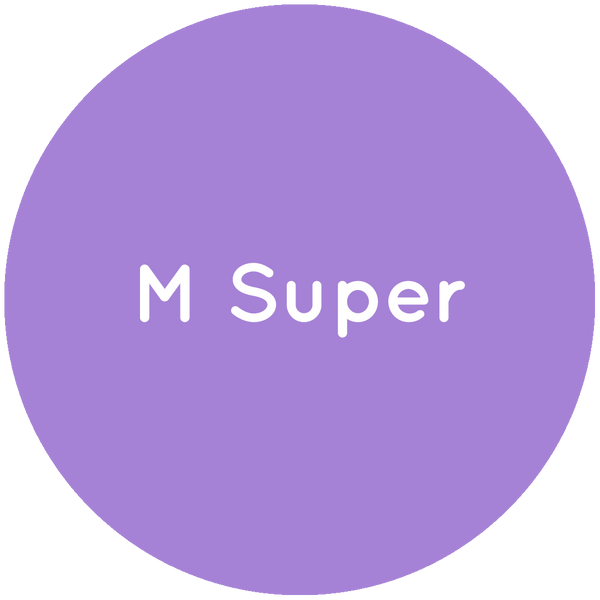 Purple circle with the text M Super in white.