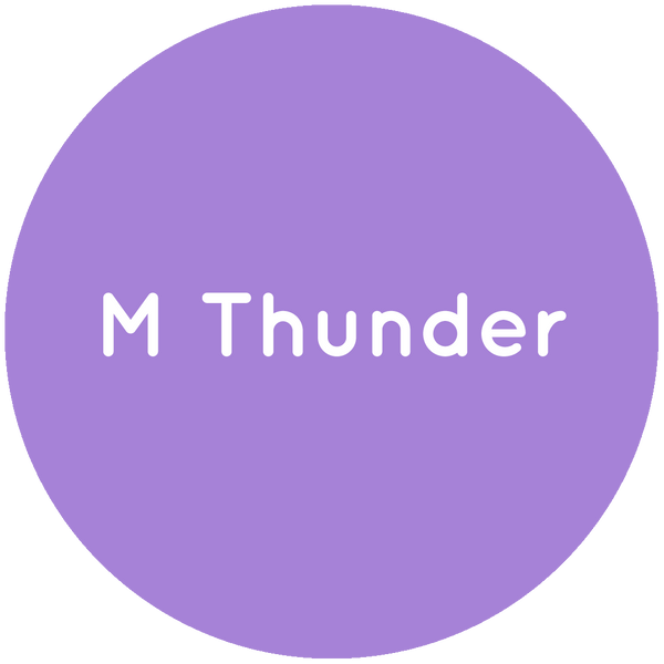 Purple circle with the text M Thunder in white.