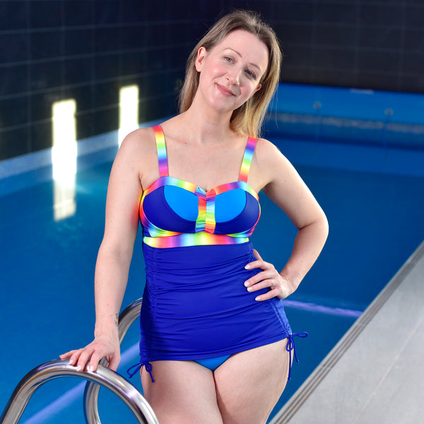 Flexi-Size Swim Tankini - Blue Rainbow