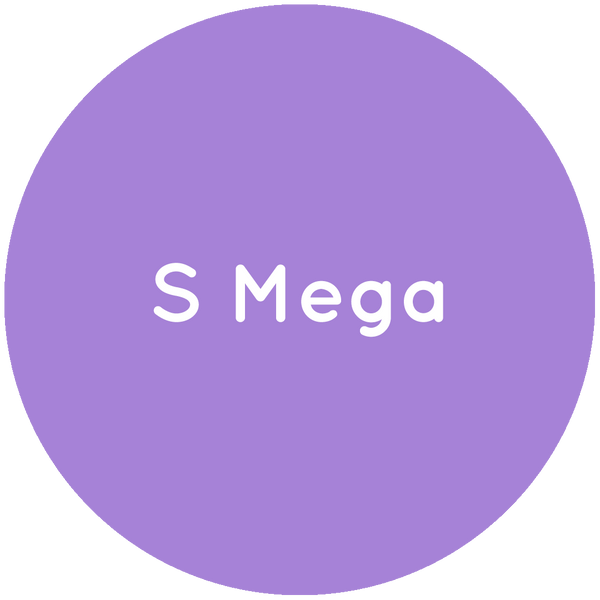 Purple circle with the text S Mega in white.