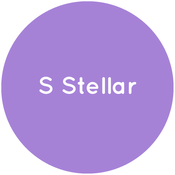 Purple circle with the text S Stellar in white.