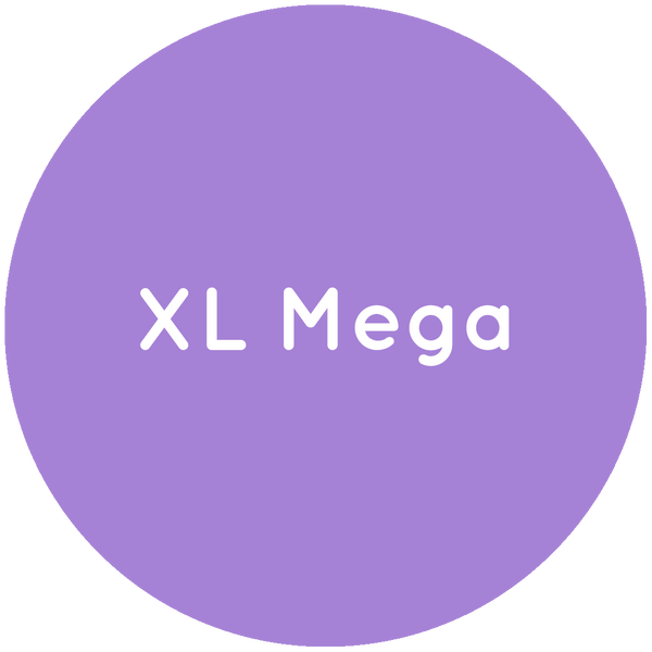Purple circle with the text XL Mega in white.