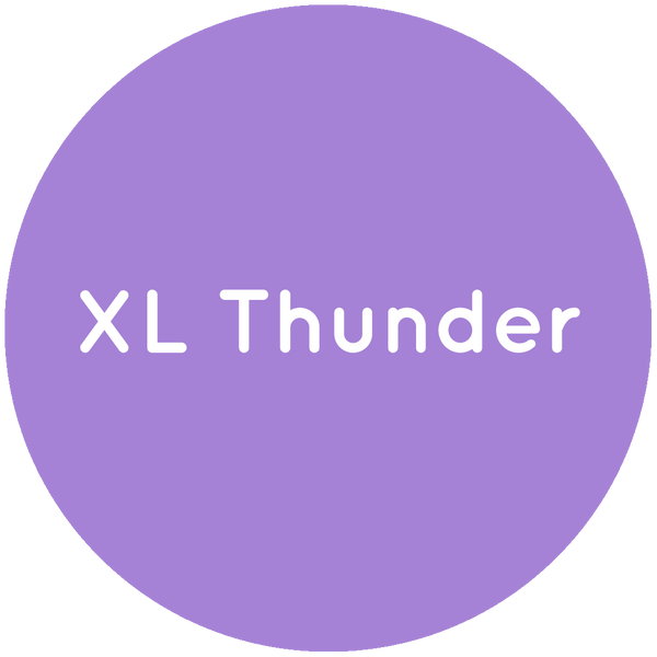Purple circle with the text XL Thunder in white.