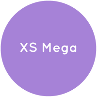 Purple circle with the text XS Mega in white.