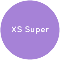 Purple circle with the text XS Super in white.