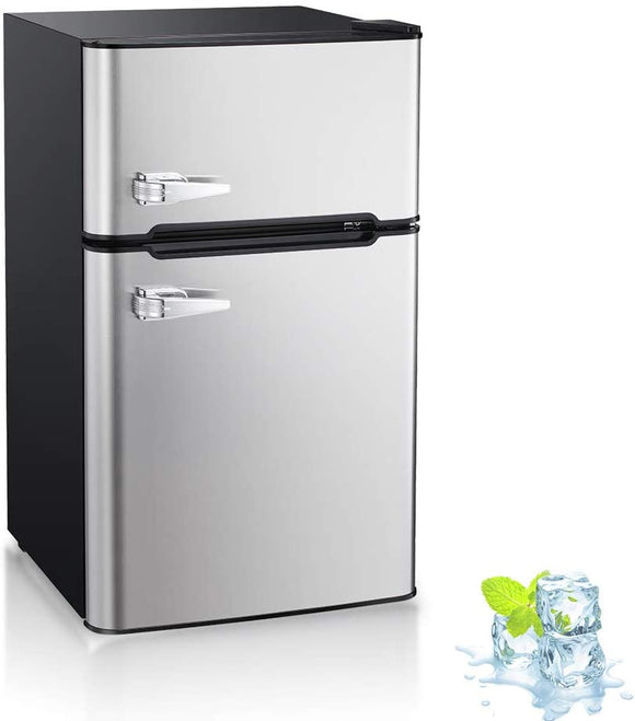 White, 1.1 cu.ft Kismile 1.1 Cu.ft Upright Freezer with Compact Reversible Single Door,Removable Shelves/Free Standing Mini Freezer with Adjustable Thermostat for Home//Kitchen//Office