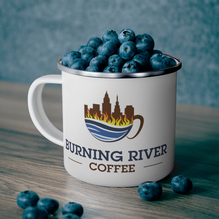 Burning River Coffee Enamel Campfire Mug