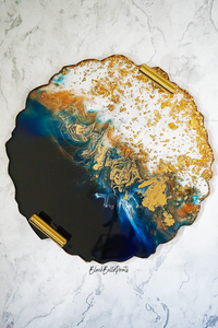 Ocean Resin Serving Tray with Gold Handles