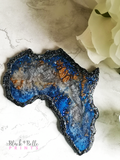 Africa Continent Blue Glitter and Silver Resin Coaster