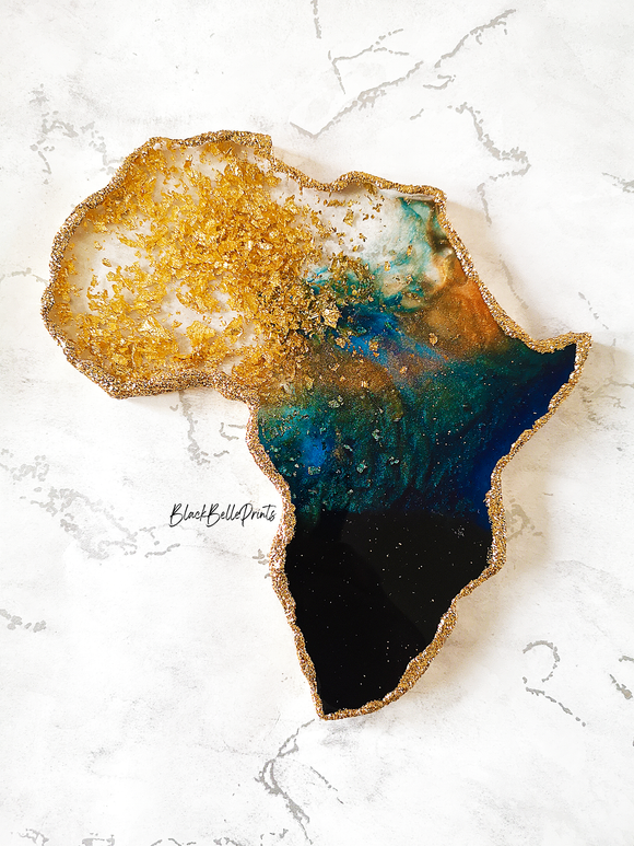 Africa Continent Gold Leaf Blue and Black Resin Coaster