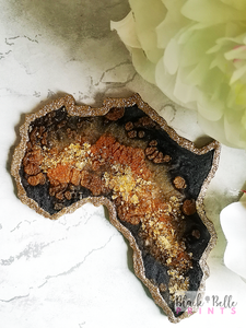 Africa Continent Gold Leaf Centred Black and Gold Resin Coaster