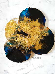 Black, Blue and Gold Leaf Flakes Resin Ocean Coasters with Textured Edge