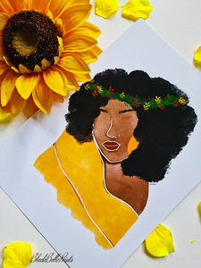 Afro Flower Crown Black Woman Art Print
