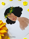 Flower Crown Black Woman Art Print