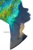 Green, Blue and Gold Headwrap Woman Wooden Wall Art