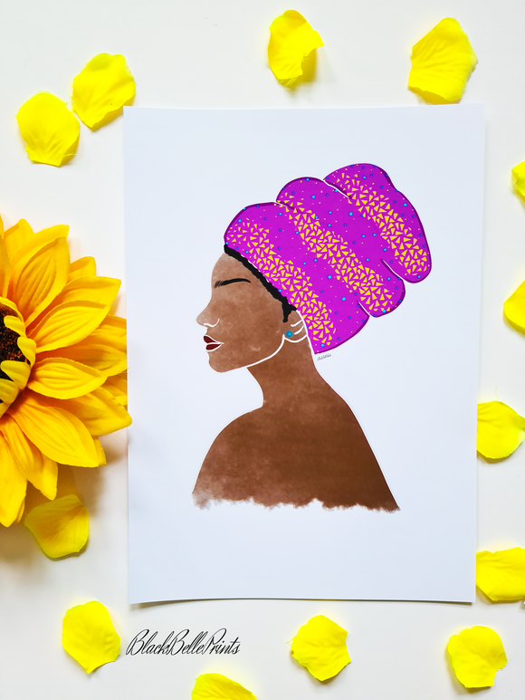 Head Wrap Crown Beauty Black Woman Art Print