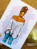 Headwrap Girl Crystal Embellished Greetings Card