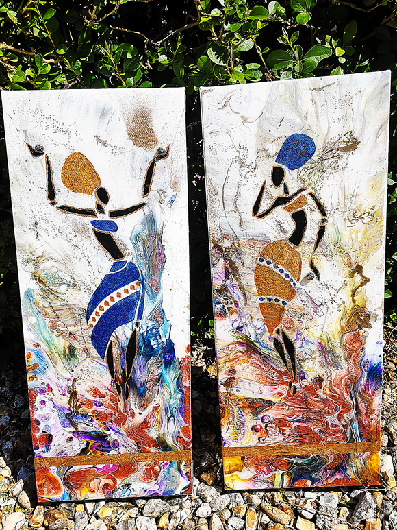 Dancing in the Sun Original Canvas Painting Duo