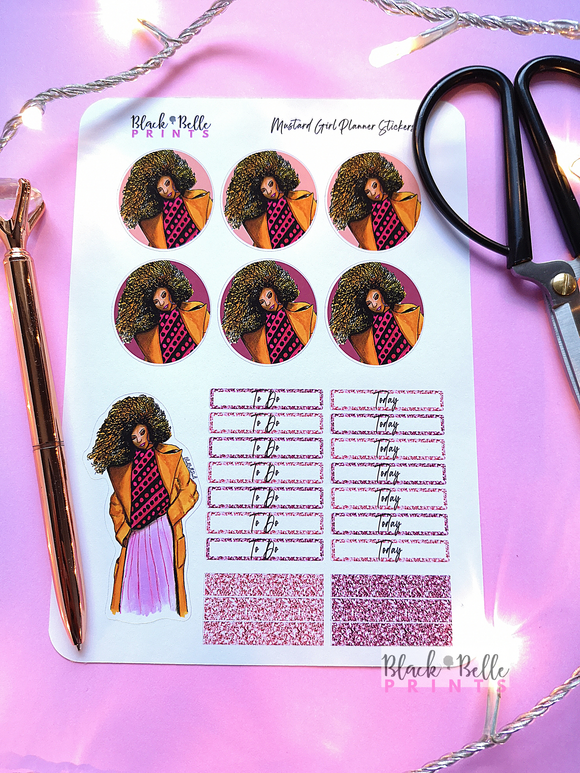 Mustard Girl Planner Sticker Sheet