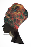 Red, Green and Gold Headwrap Woman Wooden Wall Art