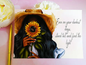 Sunflower Girl Postcard