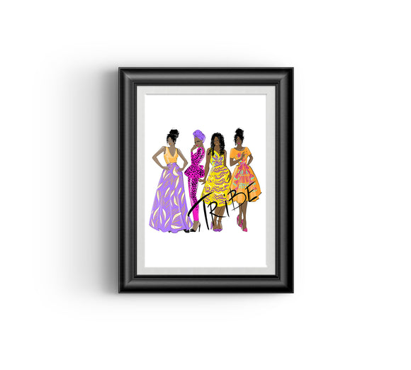 Tribe I Fashion sketch, African Fashion, Portrait, African Art, Digital Art, Digital Print, Home Decor, Black woman art