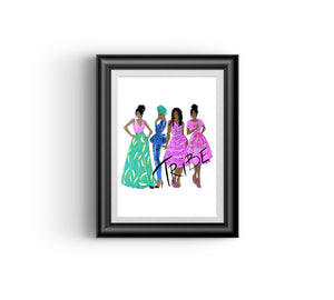 Tribe II Fashion sketch, African Fashion, Portrait, African Art, Digital Art, Digital Print, Home Decor, Black woman art