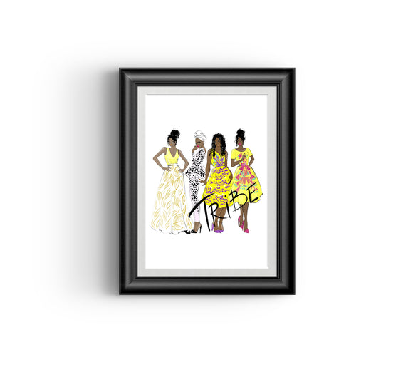 Tribe III, Fashion sketch, African Fashion, Portrait, African Art, Digital Art, Digital Print, Home Decor, Black woman art