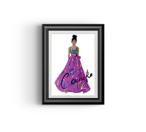 Ayo in Fuschia (African fashion design artwork)