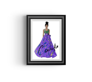Ayo in Purple, Fashion sketch, African Fashion, Portrait, African Art, Digital Art, Digital Print, Home Decor, Black woman art