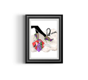 Queen's Shoes V Fashion Sketch, African Fashion, Portrait, African Art, Digital Art, Digital Print, Home Decor, Black woman art, Ankara