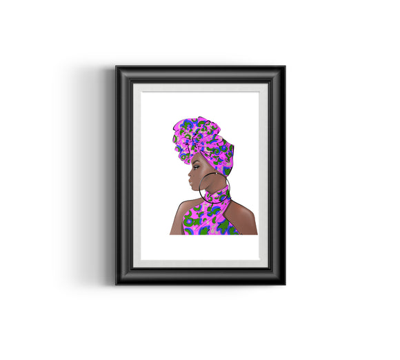 Girl Boss III  Fashion Sketch, African Fashion, Portrait, African Art, Digital Art, Digital Print, Home Decor, Black woman art, Ankara
