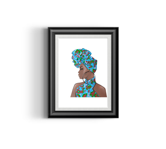 Girl Boss IV  Fashion Sketch, African Fashion, Portrait, African Art, Digital Art, Digital Print, Home Decor, Black woman art, Ankara