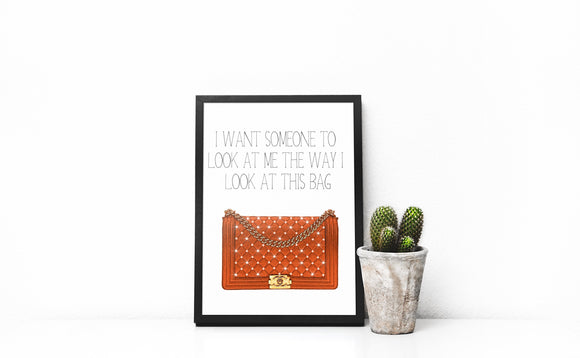Luxury Handbag Wall print, Orange handbag print, handbag quote print, designer handbag print, home decor, quote print, fashion print, girly