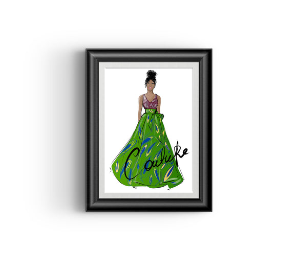 Ayo in Green Fashion sketch, African Fashion, Portrait, African Art, Digital Art, Digital Print, Home Decor, Black woman art