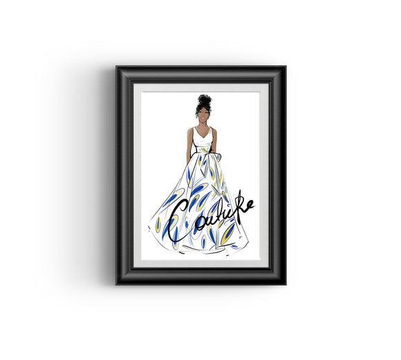 Ayo in White, Fashion sketch, African Fashion, Portrait, African Art, Digital Art, Digital Print, Home Decor, Black woman art