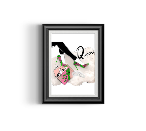 Queen's Shoes I Fashion sketch, African Fashion, Portrait, African Art, Digital Art, Digital Print, Home Decor, Black woman art, Ankara