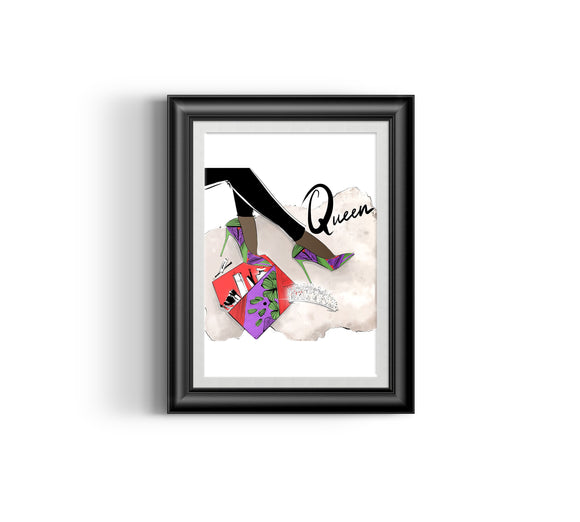 Queen's Shoes IV Fashion Sketch, African Fashion, Portrait, African Art, Digital Art, Digital Print, Home Decor, Black woman art, Ankara