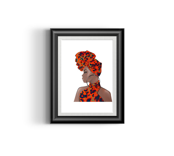 Girl Boss I  Fashion Sketch, African Fashion, Portrait, African Art, Digital Art, Digital Print, Home Decor, Black woman art, Ankara
